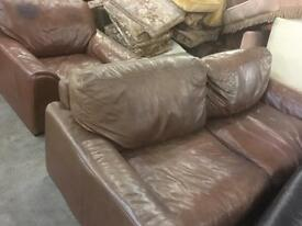 Leather sofas 3 and 1 seater