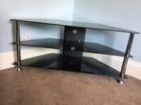 Black & Chrome TV Stand / TV Unit H19in/48cmW31.5in/80cmD16in/40cm