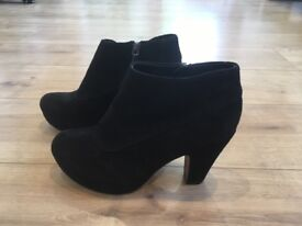 Clarks platform ankle boots (black suede, size 3) £20