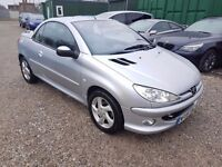 Peugeot 206 CC 1.6 16v Allure 2dr, 1 YEAR MOT. FULL LEATHER INTERIOR. CONVERTIBLE. 2 KEEPERS.