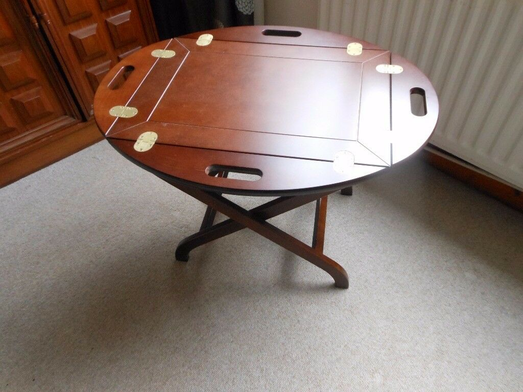 gorgeous mahogany and brass butlers table with folding legs, and tray