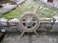Solid teak ship's wheel. 475mm, 18.75 inch