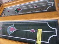 Upvc Door, double glazed, teak effect, with stain-glass effect.