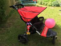 Out n about singe pushchair stroller in red