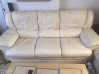 3 Piece Cream Leather suite - 3 seat, 2 seat and single reclining chair
