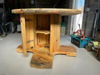 Table made out of wire spool