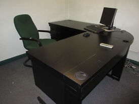 BLACK ASH OFFICE FURNITURE – CORNER DESK, TABLE & CABINET - WILL SEPARATE