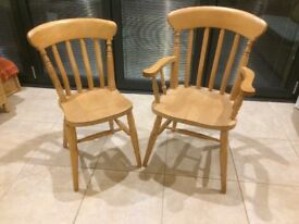 Set of 6 Beech Spindle Back Chairs