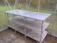 Large aluminium staging for greenhouse