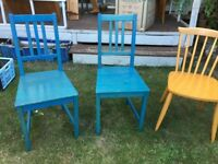 3 wooden kitchen/dining chairs
