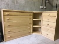 3 piece drawer & storage unit, oak veneer