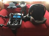 Graco baby car seat and car attachment and Graco pushchair attachment.