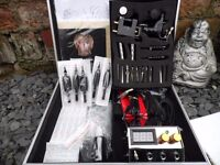 UK CASED TATTOO KIT DUAL POWER SUPPLY 2 ROTARY MACHINES INK ALL YOU NEED