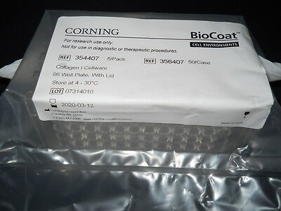 (5) Corning BioCoat Collagen I 96-Well Clear Flat Bottom TC Plates & Lids 354407 96 Well Flat Clear Bottom