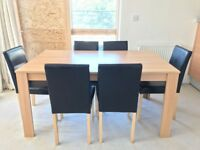 Wooden Dining Room Table and 6 nos. of chairs modern contemporary simple furniture