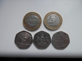 2 x 2 pound coins & 3 x 50 pence coins