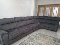 Grey Fabric Corner Sofa, brought from Harveys.