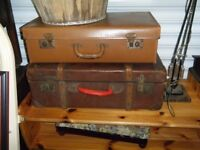 2 old style suitcases