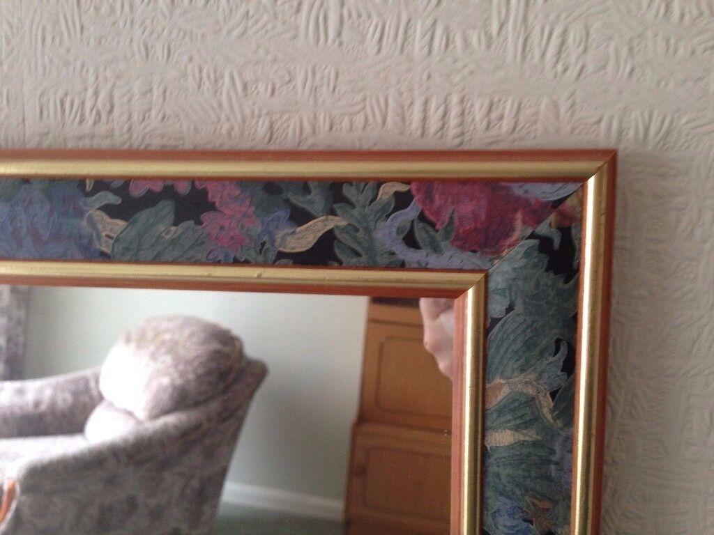 Large patterned decorative framed mirror