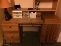 Computer desk with drawers, storage cupboard and shelving unit