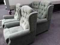 Comfy Quality Velour 2 seater sofa and 2 Chairs in Plush green FREE delivery