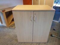 Oak wood-lockable office storage unit w/ chrome handles