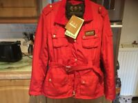 BARBOUR INTERNATIONAL blood red jacket size XL about 14. BRAND NEW WITH TAGS. BARGAIN..1/2 price