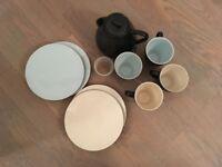 John Rocha Slate Stoneware - tea/coffee set with pot, mugs and plates