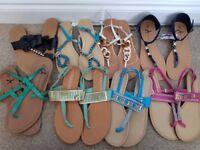 8 pairs size 5 ladies sandals