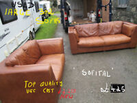 used antique tan pair of sofas in leather 3+2 in vgc