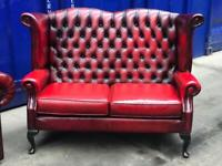 Immaculate 🤩🔥 genuine leather Thomas Lloyd chesterfield Queen Anne wingback 2 seater sofa settee