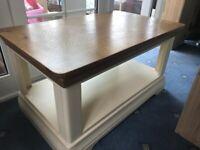 Beautiful wood country cream coffee table