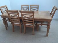 VERY NICE PINE TABLE AND 6 MATCHING CHAIRS INCLUDING TWO CARVERS SHABBY CHIC / UPCYCLE PROJECT