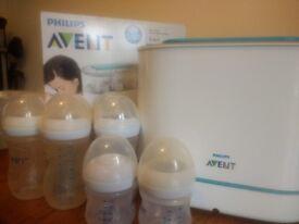 Phillips Avent electric steam steriliser and bottles