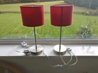 Stick Lamp Metal Silver Red Shades Pair 2 Inline Switch