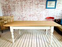 All Sizes - Any Farrow & Ball Colour Extending Kitchen Dining TableOak AB Grade