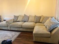 Cream & Grey Fabric L Shape Corner Sofa