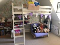 Scallywag High Sleeper Bed High Sleeper Bed with Desk and 2 Shelves. 3Ft Single Bed in White