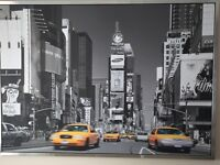 Black & white New York scene with yellow taxi 1000x1400