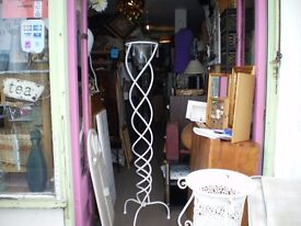 VERY TALL WROUGHT IRON STAND WITH GLASS TOP BOWL