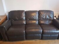Brown leather sofa with lazy boy
