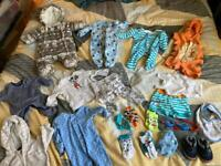 Bundle of Baby Boys Clothes Newborn and upto 1 month