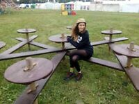 wooden outdoor seating - table and benches- festival - bars- pub -beer garden