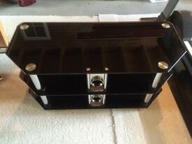 Black Glass / Chrome TV Stand