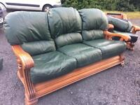 Solid wood/ green leather traditional sofa