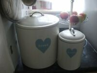 bread bin, fruit stand and biscuit tin