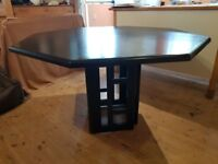 Solid wood 1980's octagonal black dining room table + 4 chairs