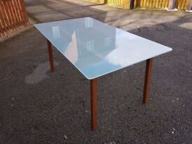 Ikea Frosted Glass & Solid Wood Dining Table FREE DELIVERY 316