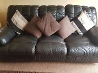 2 and 3 seater leather black reclining sofa must collect!! £70 no offers please