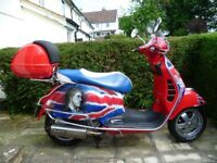 2007 Vespa 250 GTS Red with The Who artwork. Immaculate condition. Many extras.